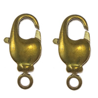 Brass Lobster Claw Clasp, plated, with loop, more colors for choice, cadmium free, 8.5x17x4mm, Hole:Approx 2mm, Sold By PC