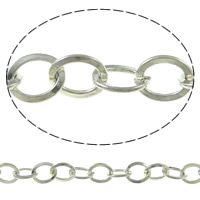 Iron Oval Chain, platinum color plated, nickel, lead & cadmium free, 7x6x1mm, 50m/Strand, Sold By Strand