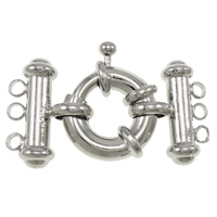 Brass Spring Ring Clasp, platinum color plated, with connector bar & 3-strand, nickel, lead & cadmium free, 38x22x8mm, Hole:Approx 2.5mm, Sold By PC