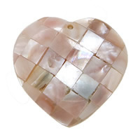 Pink Shell Pendant, Heart, mosaic, 30x35x7mm, Hole:Approx 1.5mm, Sold By PC