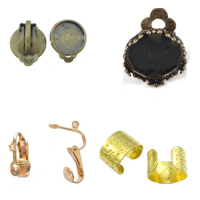 Brass Clip On Earring Finding