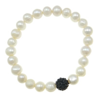 Freshwater Pearl Bracelet, with Rhinestone Clay Pave Bead, natural, with resin rhinestone, white, 7mm, Length:Approx 7 Inch, Sold By Strand