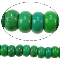 Dyed Natural Turquoise Beads, Natural White Turquoise, Rondelle, green, 5x7.5mm, Hole:Approx 1mm, Length:Approx 16 Inch, Approx 85PCs/Strand, Sold By Strand