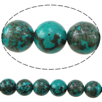 Dyed Natural Turquoise Beads, Natural White Turquoise, Round, blue, 6mm, Hole:Approx 1mm, Length:Approx 16 Inch, Approx 55PCs/Strand, Sold By Strand