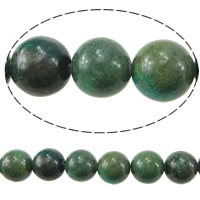 Dyed Natural Turquoise Beads, Natural White Turquoise, Round, green, 8mm, Hole:Approx 1mm, Length:Approx 16 Inch, Approx 53PCs/Strand, Sold By Strand
