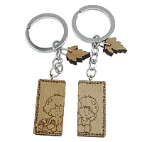 Couple Key Chain, Wood, with Stainless Steel, Rectangle, for couple, original color, Sold By Pair