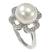 Cultured Freshwater Pearl Finger Ring, 925 Sterling Silver, Flower, micro pave cubic zirconia, 14mm, Size:6, Sold By PC