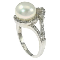 Cultured Freshwater Pearl Finger Ring, 925 Sterling Silver, micro pave cubic zirconia, 16mm, Size:7, Sold By PC