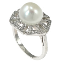 Cultured Freshwater Pearl Finger Ring, 925 Sterling Silver, Flower, micro pave cubic zirconia, 15mm, Size:6, Sold By PC