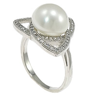 Cultured Freshwater Pearl Finger Ring, 925 Sterling Silver, Triangle, micro pave cubic zirconia, 17mm, Size:7, Sold By PC