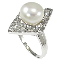 Cultured Freshwater Pearl Finger Ring, 925 Sterling Silver, Rhombus, micro pave cubic zirconia, 22mm, Size:8, Sold By PC