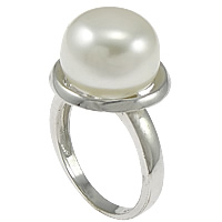 Cultured Freshwater Pearl Finger Ring, 925 Sterling Silver, Flat Round, 15mm, Size:5.5, Sold By PC