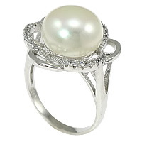 Cultured Freshwater Pearl Finger Ring, 925 Sterling Silver, Flower, micro pave cubic zirconia, 19mm, Size:8, Sold By PC