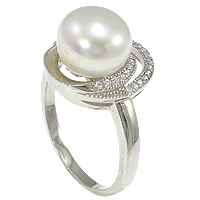 Cultured Freshwater Pearl Finger Ring, 925 Sterling Silver, Flat Oval, micro pave cubic zirconia, 14mm, Size:8, Sold By PC