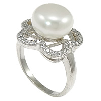 Cultured Freshwater Pearl Finger Ring, 925 Sterling Silver, Flower, micro pave cubic zirconia, 16mm, Size:6, Sold By PC