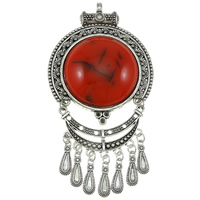 Zinc Alloy Pendant Rhinestone Setting, with Resin, plated, more colors for choice, 66x126x13mm, Hole:Approx 4mm, Sold By PC