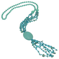 Turquoise Jewelry Necklace, Synthetic Turquoise, with Glass Seed Beads, Flat Oval, blue, 30x38x11mm, Sold Per Approx 25 Inch Strand