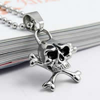 Stainless Steel Pendants, 316L Stainless Steel, Skull, enamel, original color, 11x16mm, Hole:Approx 4x7mm, Sold By PC