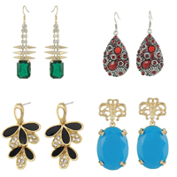 Zinc Alloy Rhinestone Drop Earring
