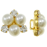 Glass Pearl Beads, Zinc Alloy, with CRYSTALLIZED™, Flower, plated, more colors for choice, nickel, lead & cadmium free, 13x14x8mm, Hole:Approx 4x2mm, Sold By PC