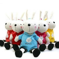 Velveteen Backpack, Rabbit, for children, mixed colors, 550mm, 30PCs/Lot, Sold By Lot