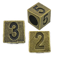 Zinc Alloy Large Hole Beads, Cube, plated, Customized & different designs for choice & without troll & four-sided, more colors for choice, nickel, lead & cadmium free, 7x7x7mm, Hole:Approx 5mm, 100PCs/Bag, Sold By Bag