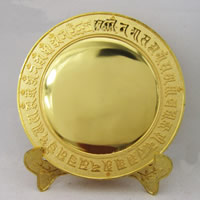 Brass Buddha Cundi Mirror, gold color plated, Buddhist jewelry & om mani padme hum, lead & cadmium free, 140mm, Sold By PC