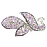 Hair Barrettes, Zinc Alloy, with Resin, Peacock, silver color plated, with rhinestone, nickel, lead & cadmium free, 69x39x17mm, Sold By PC