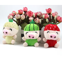 Plush Hanging Decoration, with iron ring, Pig, mixed colors, 80mm, 150PCs/Lot, Sold By Lot
