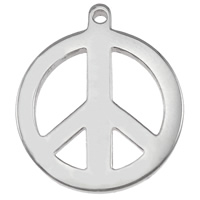 Stainless Steel Pendants, Peace Logo, platinum color plated, 15x18x1.5mm, Hole:Approx 1mm, Sold By PC