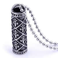 Stainless Steel Pendants, 316L Stainless Steel, Column, blacken, 10x39mm, Hole:Approx 3-5mm, Sold By PC
