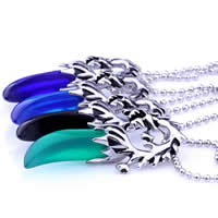 Stainless Steel Pendants, 316L Stainless Steel, with Resin, Horn, blacken, more colors for choice, 24x58mm, Hole:Approx 3-5mm, Sold By PC