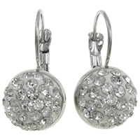 Rhinestone Brass Leverback Earring, with Rhinestone Clay Pave Bead, Dome, platinum color plated, more colors for choice, nickel, lead & cadmium free, 24x12x14mm, Sold By Pair