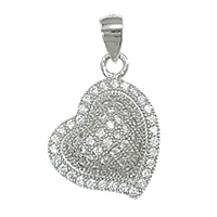 Cubic Zirconia Micro Pave Sterling Silver Pendant, 925 Sterling Silver, Heart, plated, micro pave 75 pcs cubic zirconia, more colors for choice, 13x17x6mm, Hole:Approx 3x4mm, Sold By PC