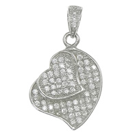 Cubic Zirconia Micro Pave Sterling Silver Pendant, 925 Sterling Silver, Heart, plated, micro pave 67 pcs cubic zirconia, more colors for choice, 14x19x3mm, Hole:Approx 3x4mm, Sold By PC