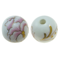 Printing Porcelain Beads, Round, white, 14mm, Hole:Approx 2mm, Sold By PC