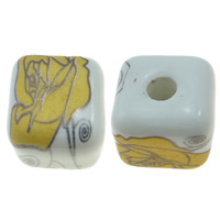 Printing Porcelain Beads, Cube, yellow, 13x13x13mm, Hole:Approx 3mm, Sold By PC