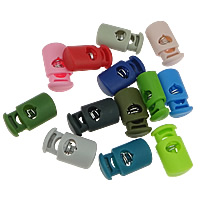 Spring Stopper Buckle, Plastic, with Iron, Rectangle, single hole, mixed colors, 15x27x10mm, Sold By PC