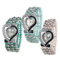 Watch Jewelry Bracelets, Crystal, with zinc alloy dial & Brass, platinum color plated, enamel & faceted & with rhinestone, more colors for choice, lead & cadmium free, 34x31mm, 4x6mm, 6x8mm, Sold Per Approx 6 Inch Strand