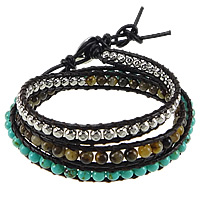 Synthetic Turquoise Wrap Bracelet, with Cowhide & Tiger Eye & Zinc Alloy, brass clasp, platinum color plated, 3-strand, 7mm, 4mm, Length:20-24 Inch, Sold By Strand