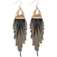 Zinc Alloy Tassel Earring, with iron chain & Crystal, brass earring hook, plated, with Czech rhinestone & two tone, nickel, lead & cadmium free, 17x93x5mm, 12Pairs/Bag, Sold By Bag