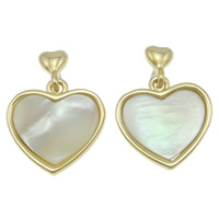 White Shell Earrings, Zinc Alloy, with White Shell, stainless steel post pin, Heart, real gold plated, nickel, lead & cadmium free, 17x23x3mm, 12Pairs/Bag, Sold By Bag