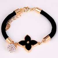 Nylon Cord Bracelets, Zinc Alloy, with Nylon Cord, with 5cm extender chain, Four Leaf Clover, 18K gold plated, with Czech rhinestone & enamel, more colors for choice, nickel, lead & cadmium free, 20-30mm, Length:Approx 7.5 Inch, 12Strands/Bag, Sold By Bag