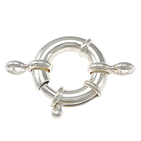 Sterling Silver Spring Ring Clasp, 925 Sterling Silver, plated, with connector bar, more colors for choice, 35x24x5mm, Sold By PC