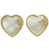 White Shell Earrings, Zinc Alloy, with White Shell, stainless steel earring clip, Heart, real gold plated, with Czech rhinestone, nickel, lead & cadmium free, 20x21x3mm, 12Pairs/Bag, Sold By Bag