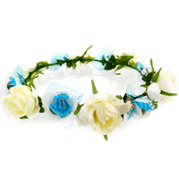 Bridal Hair Wreath, Polyester, with Gauze & PE Foam & Cloth & Iron, Flower, for bridal, multi-colored, 170x40mm, 30PCs/Lot, Sold By Lot