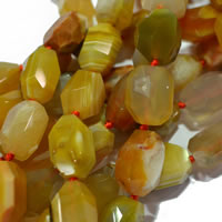 Natural Lace Agate Beads, with Nylon Cord, Oval, machine faceted, yellow, 13x18-15x20mm, Approx 20PCs/Strand, Sold Per Approx 15 Inch Strand