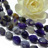 Natural Lace Agate Beads, Oval, machine faceted, purple, 13x18mm, 21PCs/Strand, Sold Per Approx 15 Inch Strand