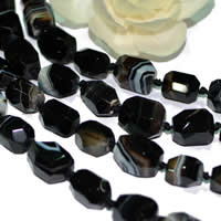 Natural Lace Agate Beads, Nuggets, faceted, black, 15x20mm, Approx 19PCs/Strand, Sold Per Approx 15 Inch Strand