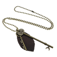 Zinc Alloy Sweater Chain Necklace, with PU, Key, antique bronze color plated, ball chain, lead & cadmium free, 15x52mm,19x89mm,34x63mm, Length:Approx 25.5 Inch, Sold By Strand